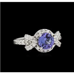 14KT White Gold 1.25ct Tanzanite and Diamond Ring
