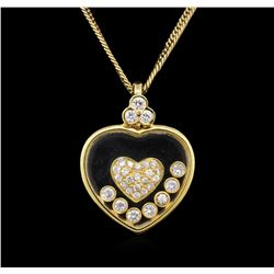 18KT Yellow Gold 0.74ctw Diamond Pendant With Chain