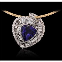 14KT Two-Tone Gold 10.88ct Tanzanite and Diamond Pendant With Chain
