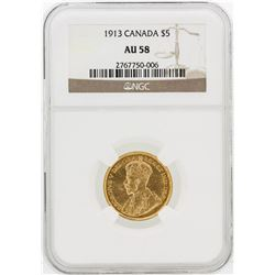 $5 1913 NGC AU58 Canada Gold Coin