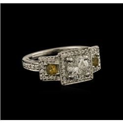1.53ctw Diamond and Yellow Sapphire Ring - 14KT White Gold