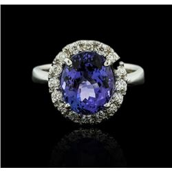 14KT White Gold 4.52ct Tanzanite and Diamond Ring