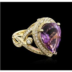 14KT Yellow Gold 7.27ct Amethyst and Diamond Ring