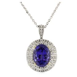 14KT White Gold GIA Certified 17.92ct Tanzanite and Diamond Pendant With Chain