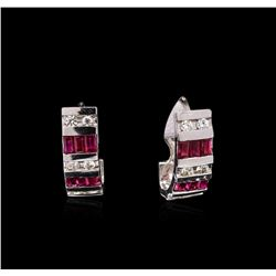 1.50ctw Ruby and Diamond Earrings - 14KT White Gold