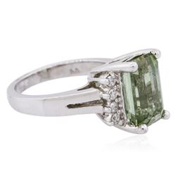 14KT White Gold 4.41ct Green Tourmaline and Diamond Ring