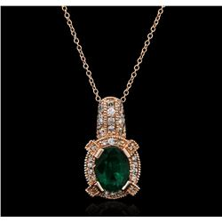 14KT Rose Gold 1.83ct Emerald and Diamond Pendant With Chain