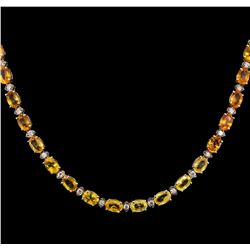 36.80ctw Multi Color Sapphire and Diamond Necklace - 14KT Yellow Gold