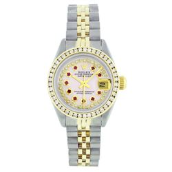 Rolex Two-Tone 1.00ctw Diamond and Ruby DateJust Ladies Watch