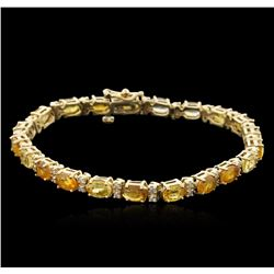 14KT Yellow Gold 13.23ctw Yellow Sapphire and Diamond Bracelet