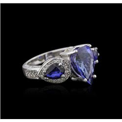 14KT White Gold 3.83ct Tanzanite, Sapphire and Diamond Ring