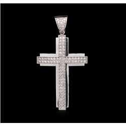 1.75ctw Diamond Cross Pendant - 14KT White Gold