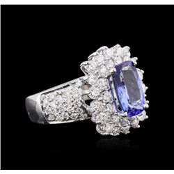 14KT White Gold 3.06ct Tanzanite and Diamond Ring