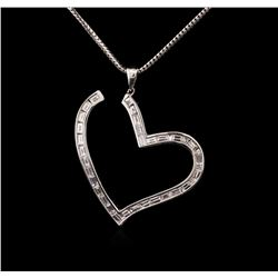 18KT White Gold 2.39ctw Diamond Heart Pendant With Chain