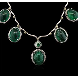 93.30ctw Emerald, Tsavorite, Sapphire and Diamond Necklace - 18KT White Gold