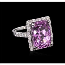 9.05ct Kunzite and Diamond Ring - 14KT White Gold