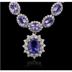 14KT White Gold 35.22ctw Tanzanite and Diamond Necklace