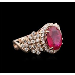 14KT Rose Gold 3.91ct Ruby and Diamond Ring