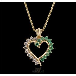 14KT Yellow Gold 1.00ctw White Topaz and Emerald Pendant With Chain