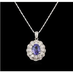 14KT White Gold 1.82ct Tanzanite and Diamond Pendant With Chain