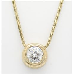 1.09ct Diamond Pendant With Chain - 14KT Yellow Gold