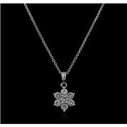 14KT White Gold 0.35ctw Diamond Pendant With Chain