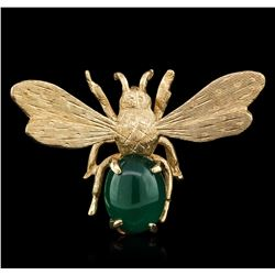 14KT Yellow Gold 1.72ct Agate Bee Pin