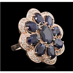 14KT Rose Gold 9.91ctw Sapphire Ring