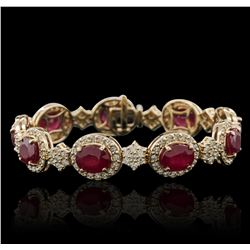 14KT Yellow Gold 17.91ctw Ruby and Diamond Bracelet