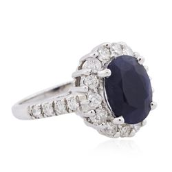 18KT White Gold 3.84ct Sapphire and Diamond Ring