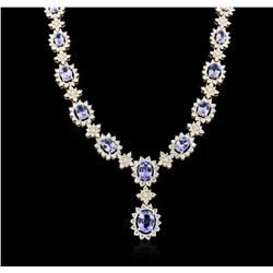 14KT Yellow Gold 10.54ctw Tanzanite and Diamond Necklace