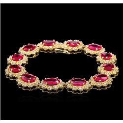 26.51ctw Ruby and Diamond Bracelet - 14KT Yellow Gold