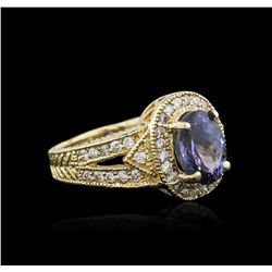 14KT Yellow Gold 2.70ct Tanzanite and Diamond Ring