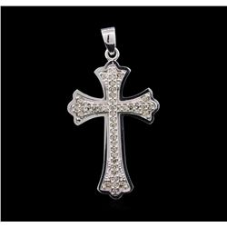 0.60ctw Diamond Cross Pendant - 14KT White Gold