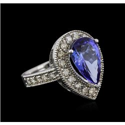 14KT White Gold 4.12ct Tanzanite and Diamond Ring