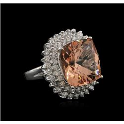 13.86ct Morganite and Diamond Ring - 14KT White Gold