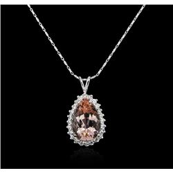 14KT White Gold 8.37ct Morganite and Diamond Pendant With Chain