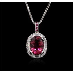 14KT White Gold 4.70ct Tourmaline, Ruby and Diamond Pendant With Chain