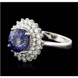 14KT White Gold 4.51ct Tanzanite and Diamond Ring
