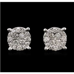 1.10ctw Diamond Stud Earrings - 14KT White Gold