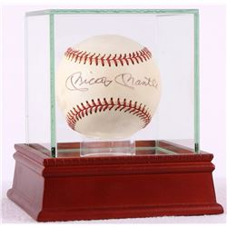 Mickey Mantle Signed Vintage OL Baseball with High Quality Display Case (PSA LOA)