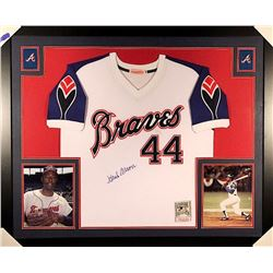 Hank Aaron Signed Braves 35x43 Custom Framed Jersey (JSA LOA)