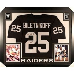 "Fred Biletnikoff Signed Raiders 35x43 Custom Framed Jersey Inscribed ""HOF 88"" (JSA COA)"