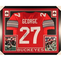 Eddie George Signed Ohio State 35x43 Custom Framed Jersey (JSA COA)