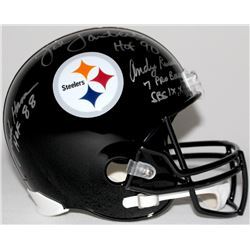 Steelers Legends Full-Size Helmet Signed by (8) with Jack Ham, Jack Lambert, Andy Russell, Joey Port