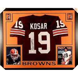 Bernie Kosar Signed Browns 35x43 Custom Framed Jersey (JSA)
