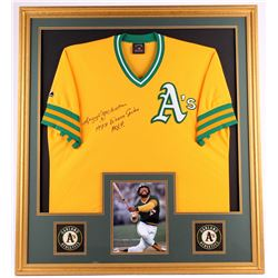 "Reggie Jackson Signed Athletics 35x39 Custom Framed Jersey Display Inscribed ""1973 World Series MVP"""