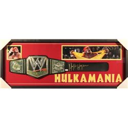 Hulk Hogan Signed WWE Championship Belt 39x15x2 Custom Framed Shadowbox Display (JSA COA)