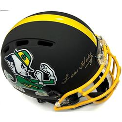 Lou Holtz Signed Notre Dame Custom Flat Matte Black Full-Size Authentic Proline Helmet (JSA COA)