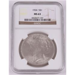 1924 Peace Silver Dollar (NGC MS63)
